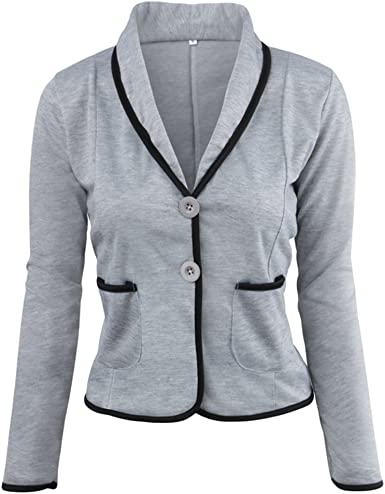 ZKOO Blázer Abrigo Mujer Blazer Color Sólido Americana Blazer ...
