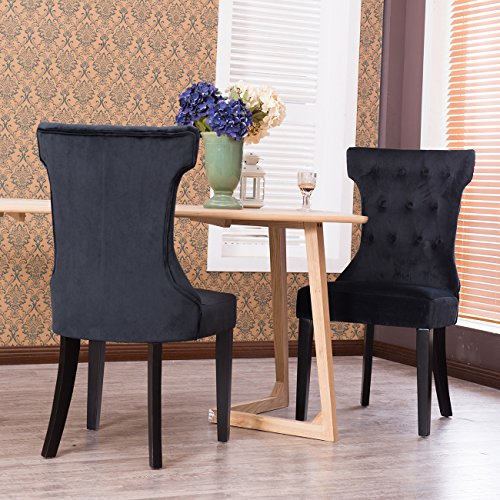 Belleze Set of 2, Black Premium Dining Chairs Side Room Fabric Indoor w/ Nailhead (Fabric Covered Dining Chairs)