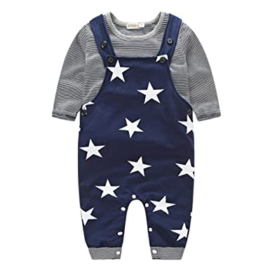 ee5c221d1bf3 Newborn Baby Boys Pants Sets Stripe T-shirt Tops + Bib Pants Set Overall  Outfits  Amazon.co.uk  Clothing