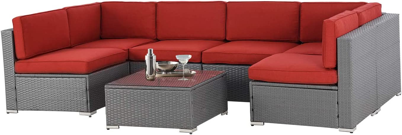 SOLAURA 7-Piece Outdoor Furniture Set, Gray Wicker Furniture Modular Sectional Sofa Set with YKK Zipper &Coffee Table - Dark Red