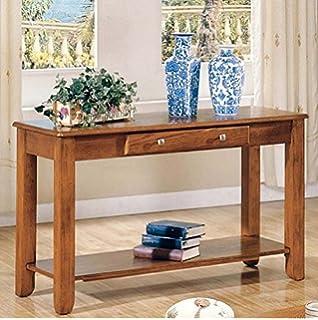 Amazon logan collection oak end table kitchen dining sofa table logan collection featuring single drawer and shelf for storage warm oak finish watchthetrailerfo