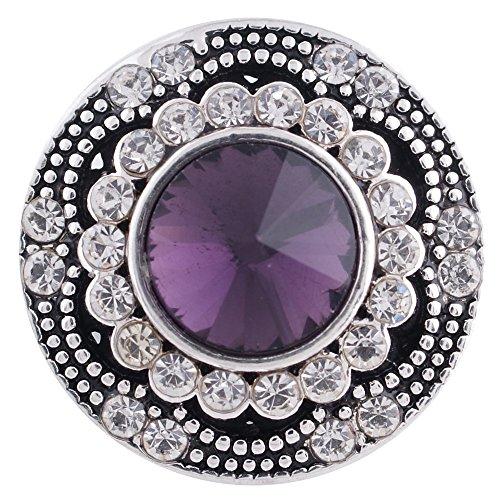 My Prime Gifts Snap Jewelry Purple Rhinestone Antique Design 18-20mm (Purple Rhinestone Charm)
