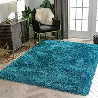 """Well Woven Chie Teal Blue & Black Kuki Collection Ultra Soft Two-Tone Long Floppy Pile Rug 5x7 (5'3"""" x 7'3"""")"""
