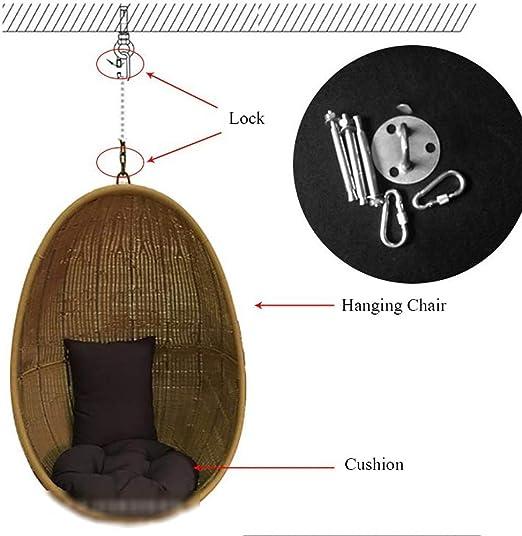 HUANHUANHUAN Silla de Hamaca, jardín Patio Rattan Swing Hamaca de ratán Hamaca Silla de Huevo para Interior y terraza: Amazon.es: Hogar