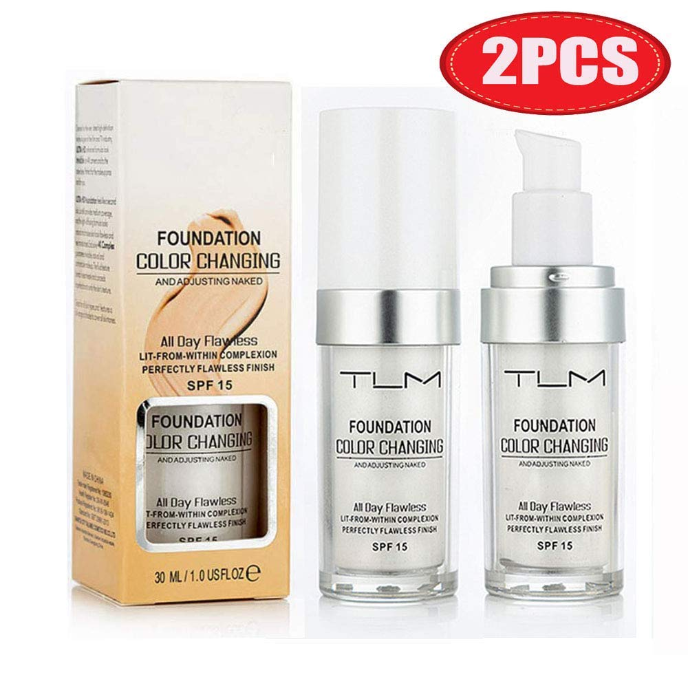 2PCS TLM Flawless Colour Changing Warm Skin Tone Foundation, Makeup Base Nude Face Liquid Cover Concealer (2 Pcs Foundation)