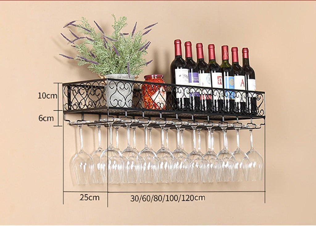 Color : 2, Tamaño : 80 * 25 * 16cm Botelleros MoDi Botelleros Wine Rack/European Retro Forjado Vino Wine Rack Hanging Wine Cabinet/Wine Glass Rack Bar Estantes de Pared Techo botelleros de Vino Utensilios de bar