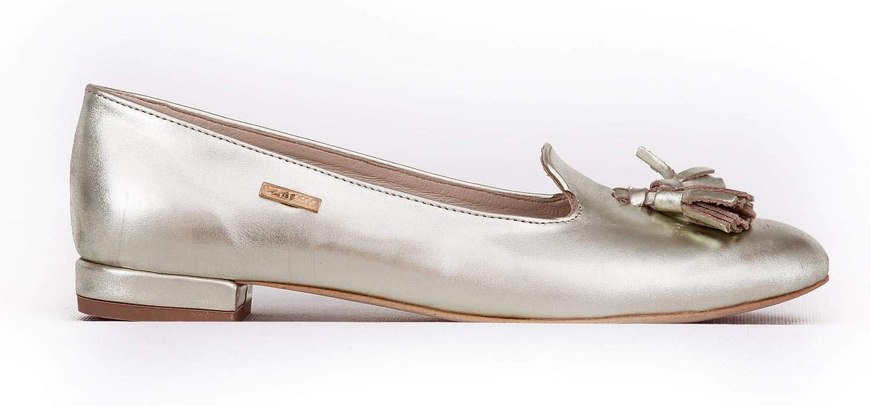 Zapato Polish Damen Leder Ballerinas Modell 045 Platin c9gvM