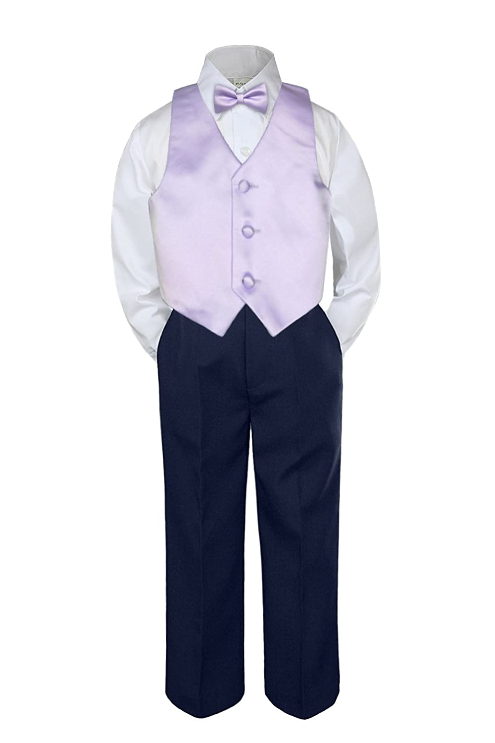 6-12 months Leadertux 4pc Baby Toddler Boy Yellow Vest Bow Tie Navy Blue Pants Suits Set S-7 M:
