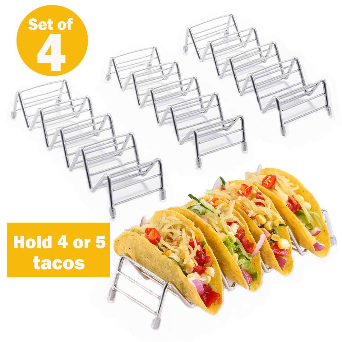 Taco Holder, Taco Rack Holders ,Good Taco Shell Holder Stand on Table , Hold 4 or 5 Hard or Soft Shell Tacos, Safe for Baking taco Truck Tray- Set of 4 by LifeEase