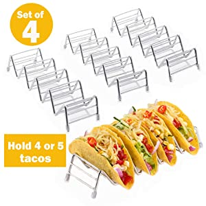 Taco Holder, Taco Rack Holders ,Good Taco Shell Holder Stand on Table , Hold 4 or 5 Hard or Soft Shell Tacos, Safe for Baking taco Truck Tray- Set of 4