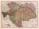MAP ANTIQUE McNALLY 1906 AUSTRIA-HUNGARY OLD LARGE REPLICA POSTER PRINT PAM1047