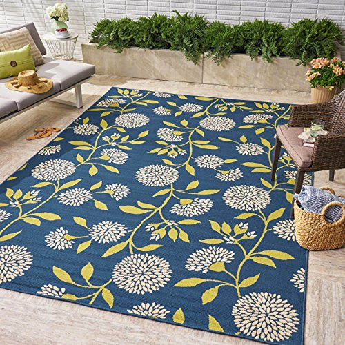 Tilda Outdoor Floral 8 x 11 Area Rug, Blue and Green ()