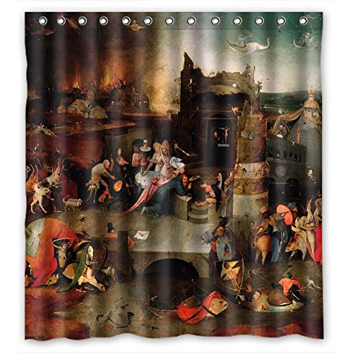NASAZONE Polyester Hieronymus Bosch Art Painting Christmas Shower Curtains Width X Height / 72 X 72 Inches / W H 180 By 180 Cm Gift Or Decor For Artwork Boys Artwork Lover Family. Water Repellent