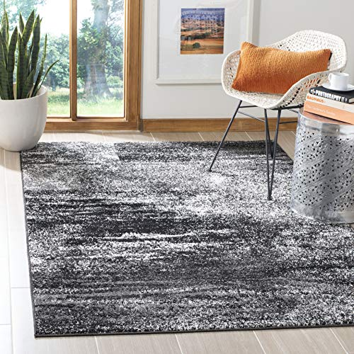 - Safavieh Adirondack Collection ADR112A Silver and Black Modern Abstract Square Area Rug (8' Square)