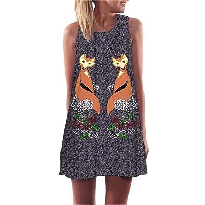 Sinfu Women Summer Sleeveless Tank Dress Loose Mini T-Shirt Dress Beach Sundress: Clothing [5Bkhe1804866]