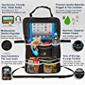 Rugged Universal Backseat Car Organizer | Includes iPad Holder & Large Drink Pockets | For Diapers, Bottles, Toys & More! | Multipurpose Baby Stroller Organizer, Kick Mat & Seat Back Protector
