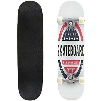 Classic Concave Skateboard Vector Illustration on The Theme of Skateboard and Skateboarding in Longboard Maple Deck Extreme Sports and Outdoors Double Kick Trick for Beginners and Professionals : Sports & Outdoors