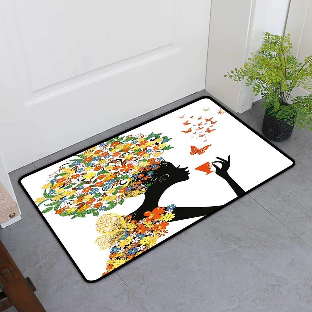 TableCovers&Home Welcome Front Mat, Floral Non-Slip Rugs for Kitchen, Woman Silhouette with Hot Tea Cup Butterflies Wings Daisies Poppy Hibiscus Hairstyle (Multicolor, H32 x W48)