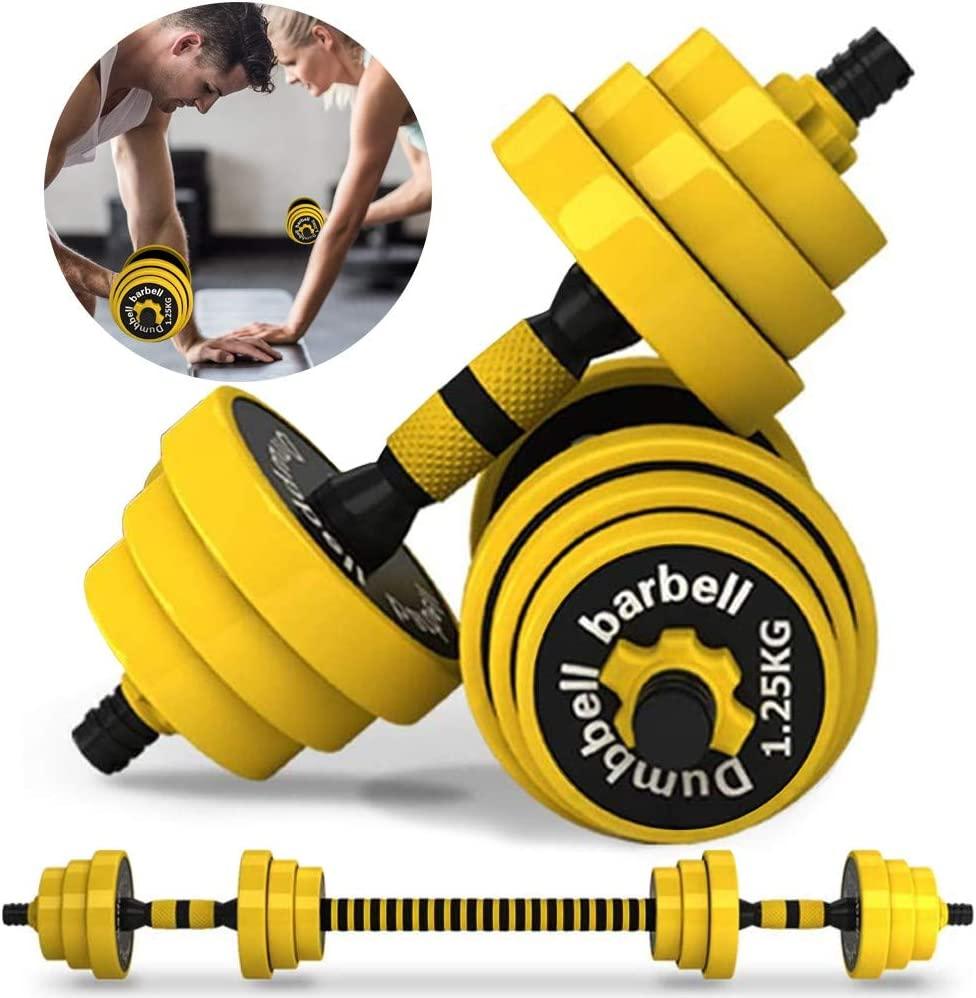 Adjustable Dumbbell Set and Home Gym Equipment, Progressive Training Up to 44 lbs. Quick Adjust Weight Plates and Handle Grips for Muscle Building Upper Back, Arm and Body Workouts