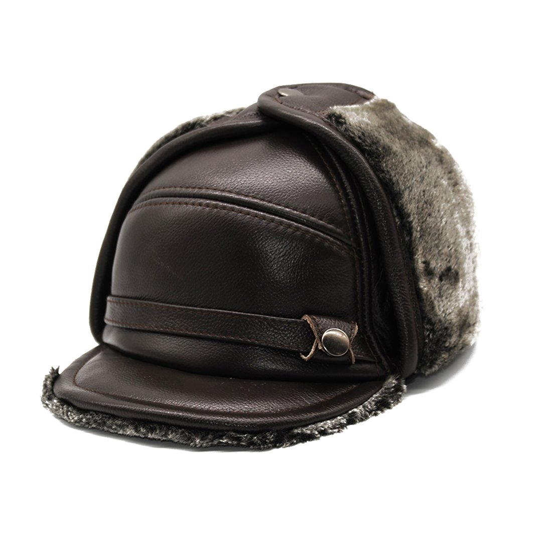 Maylian Winter Warm Brown Genuine Leather Mens Bomber Hat Cap (M)
