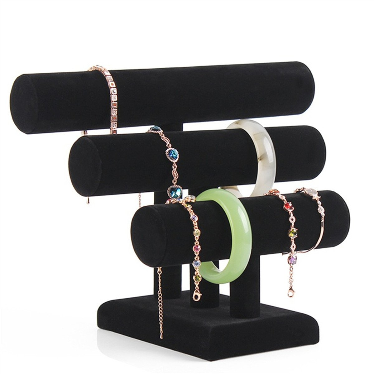 Zebratown 3 Layers Black Velvet Jewellry Bangel Bracelet T-Bar Jewelry Display Bangle Jewelry Organizer Holder