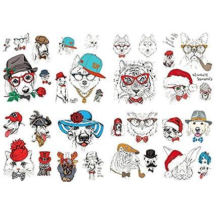Oottati 8 Hojas Tatuajes Temporales Brazo Pierna Cute Dibujos ...