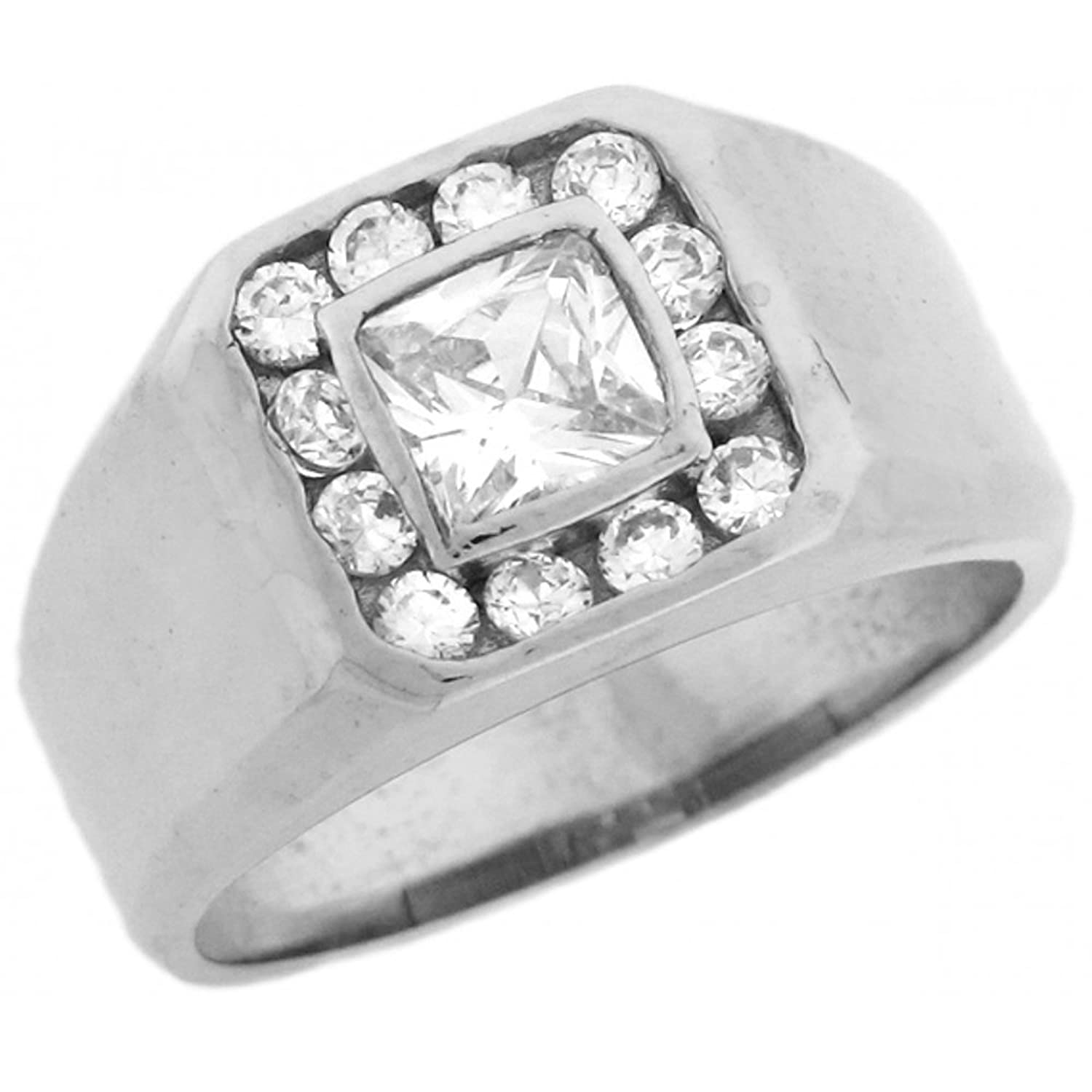 10k White Gold Mens Square Center CZ Ring with Round Cut Halo Detail