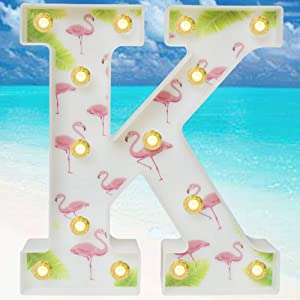 Pooqla Marquee Letters Tropical Luau Party Supplies Flamingos Palm Trees Painted LED Letter Sign Light for Hawaiian Party Decoration Birthday Bedroom Wall Decor Table Centerpieces K