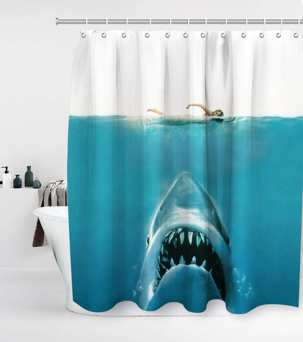 Underwater Shark Jaws Shower Curtain with 12 Hooks Waterproof Washable and Durable Polyester Fabric Kraken Sea Monster Ocean Nautical Bathroom Set Decor Sets Washable 72 x 72 inches Blue