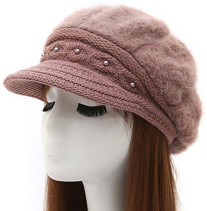 Epsion Women Winter Knit Crochet Newsboy Caps Lady Warm Pearl Knit ... ff69284ec27