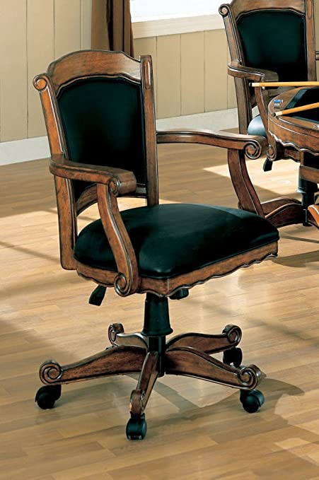 Swivel Arm Game Chair With Casters Oak Finish