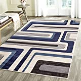 Contemporary Lined Geometric Emerald Collection Carved Area Rug by Rug Deal Plus (7'11''x10'4'', Blue/Beige)