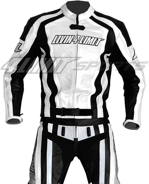 Motorrad Lederkombi 4LIMIT Sports LAGUNA SECA Motorradkombi Zweiteiler wei/ß-schwarz M