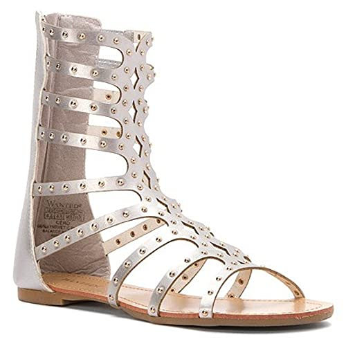 Sandal Wanted Womans Mid Cero With Gladiator Calf Studded Straps ZPXiku