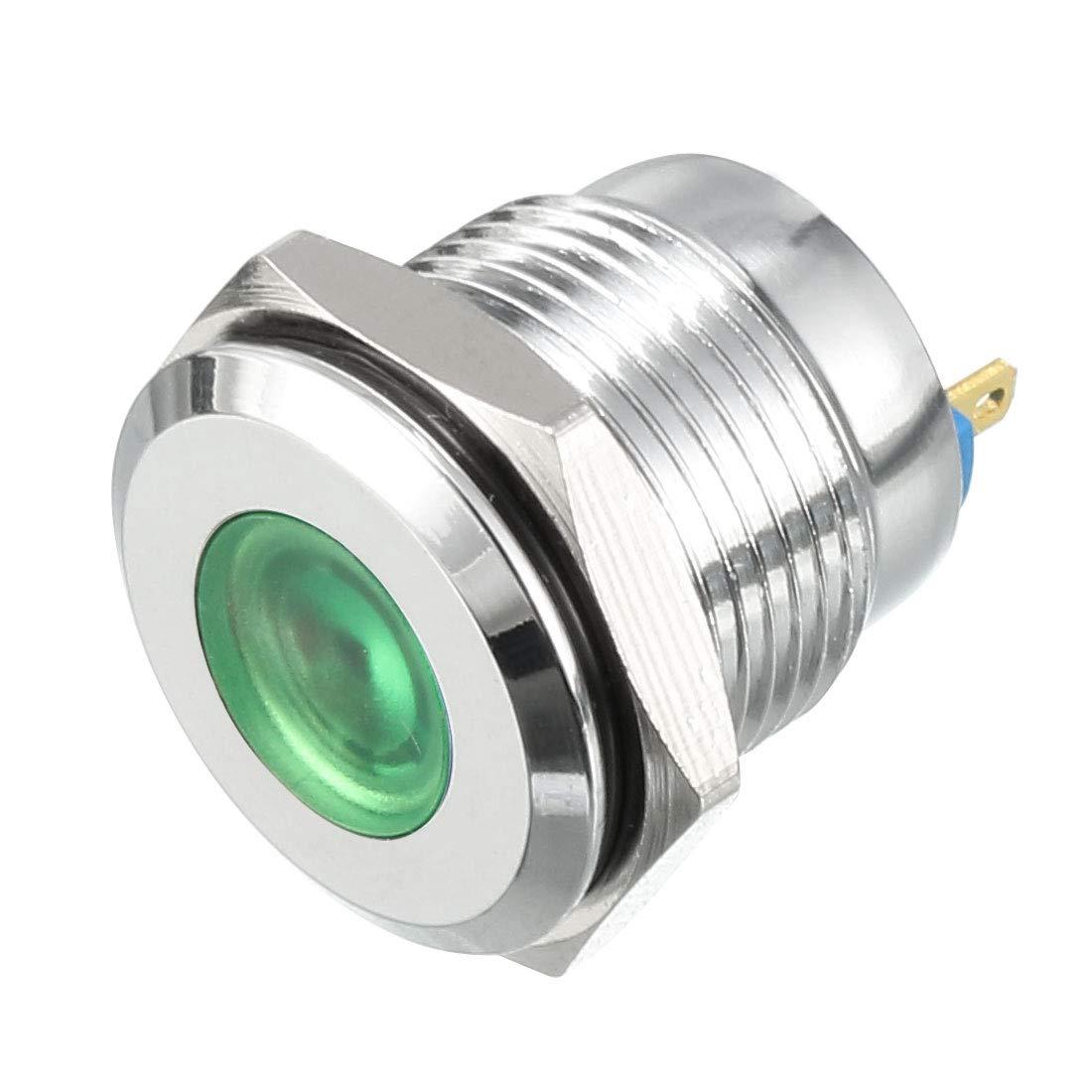 uxcell LED Indicator Light 12V 16mm Blue Pilot Custom Dash Signal Lamp Concave Head