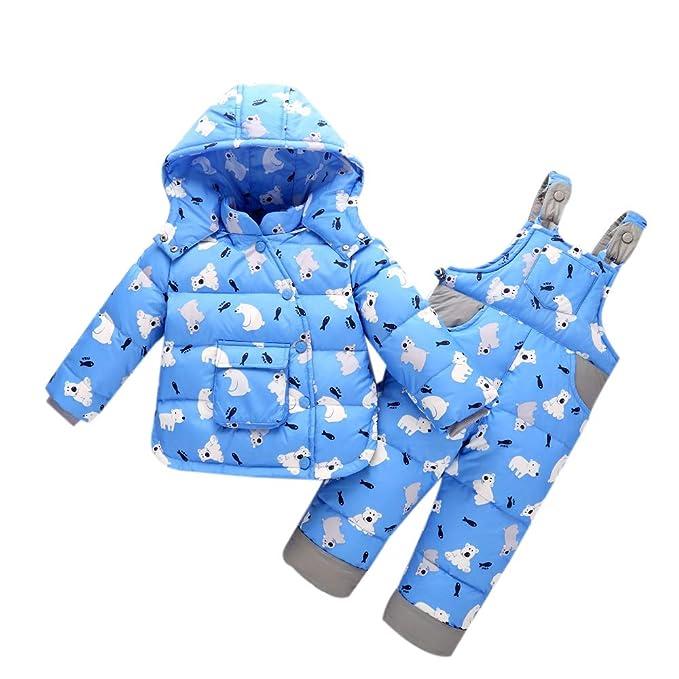 c720a98a6 zhxinashu Niños Invierno Traje de Esquiar Infantil Bib Pants - Niño Manga  Larga Chaqueta Cálida Capucha