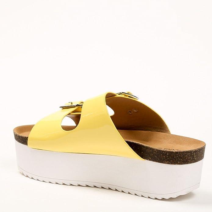 Ideal-Shoes Nu-con piedi Anahi Suola in gomma, Giallo (giallo), 38