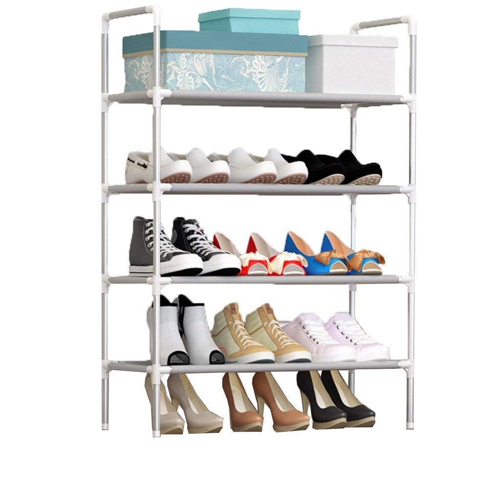 FKUO 4-Layer Shoe Rack with Handrail Nonwovens Easy Assembled Shoes Shelf Storage Organizer Stand Holder Space Saving