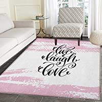Live Laugh Love Area Rug Carpet Abstract Pink Toned Brush Strokes Backdrop with Hand Lettering Quote Living Dining Room Bedroom Hallway Office Carpet 5x6 Blush Black White