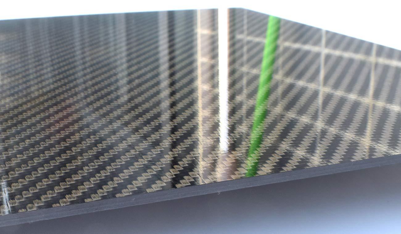 3mmx200mmx300mm Glossy Carbon Fiber Sheet Plate Panel 3K Twill Mirror Like