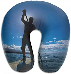 Emvency U-Shaped Travel Neck Support Pillow Stand Up Paddle Boarder Exercising Airplane 12x11.5 Inch Soft U-Pillows with Rebound Material for Kids Adults