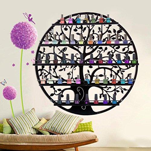 Lantusi Wall Mounted 5 Tier Nail Polish Rack Holder, Tree Silhouette Black Round Metal Nail Polish Storage Organizer Display, Great for Home, Business, Salon, Spa, and More (US STOCK) (Tree) by Lantusi (Image #7)