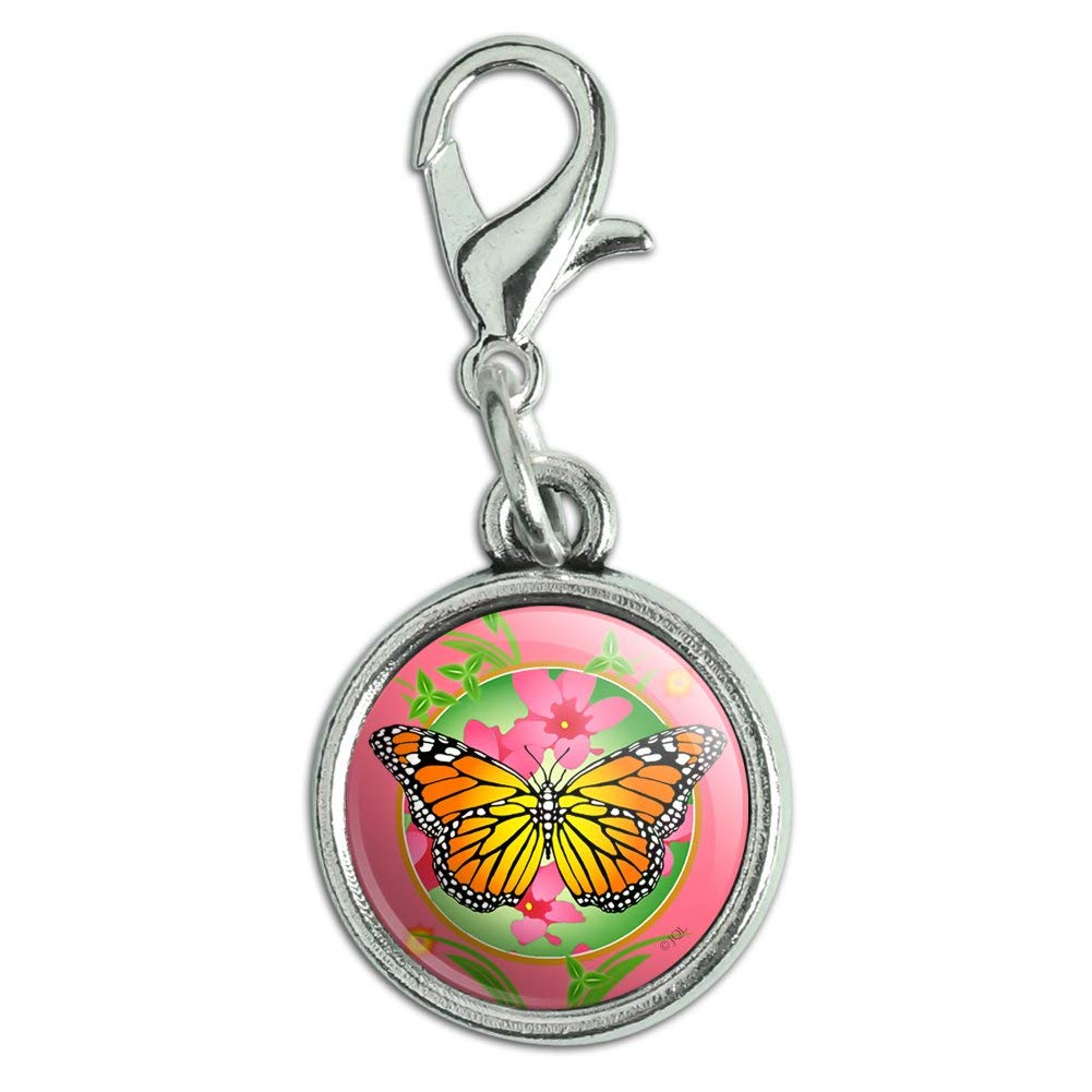 GRAPHICS /& MORE Orange Butterfly Pink Flowers Antiqued Bracelet Pendant Zipper Pull Charm with Lobster Clasp