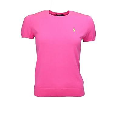 6b03f1d6142 Pull Ralph Lauren col rond manches courtes rose pour femme  Amazon.fr  Vêtements  et accessoires