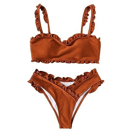 553adfcbc6 Bikini donna Mare Push Up,Costume da bagno donna intero,YanHoo Donne Solido  Colore Bendare Bikini Impostato brasiliano Costumi da bagno beachwear Costume  da ...