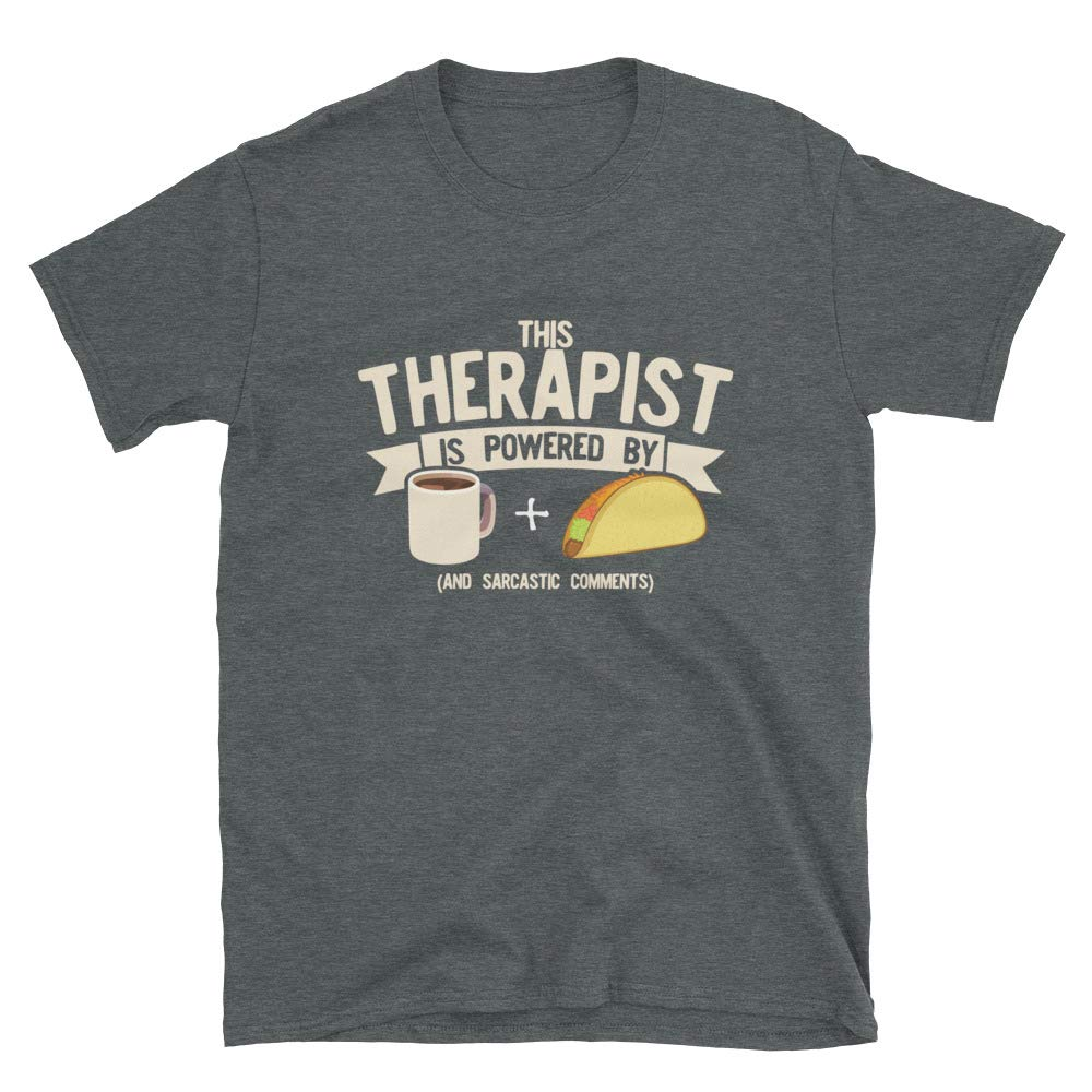 This Is Just Genius Funny Therapist Powered by Coffee and Tacos Unisex Graphic Gift T Shirt M9