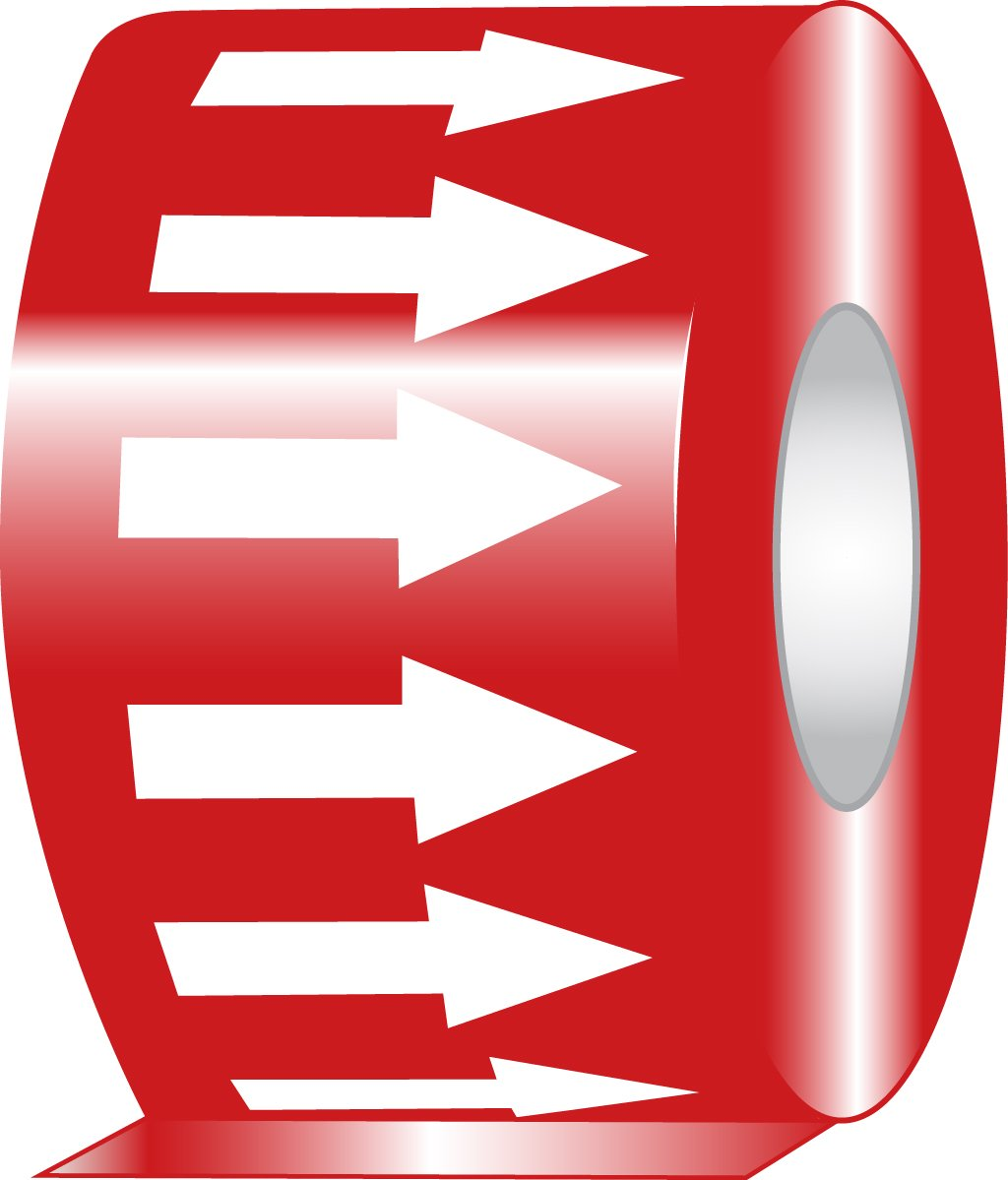 Accuform RAW254RDWT Adhesive Vinyl Directional Flow Arrow Tape, 2'' Width x 54' Length x 0.006'' Thickness, White/Red