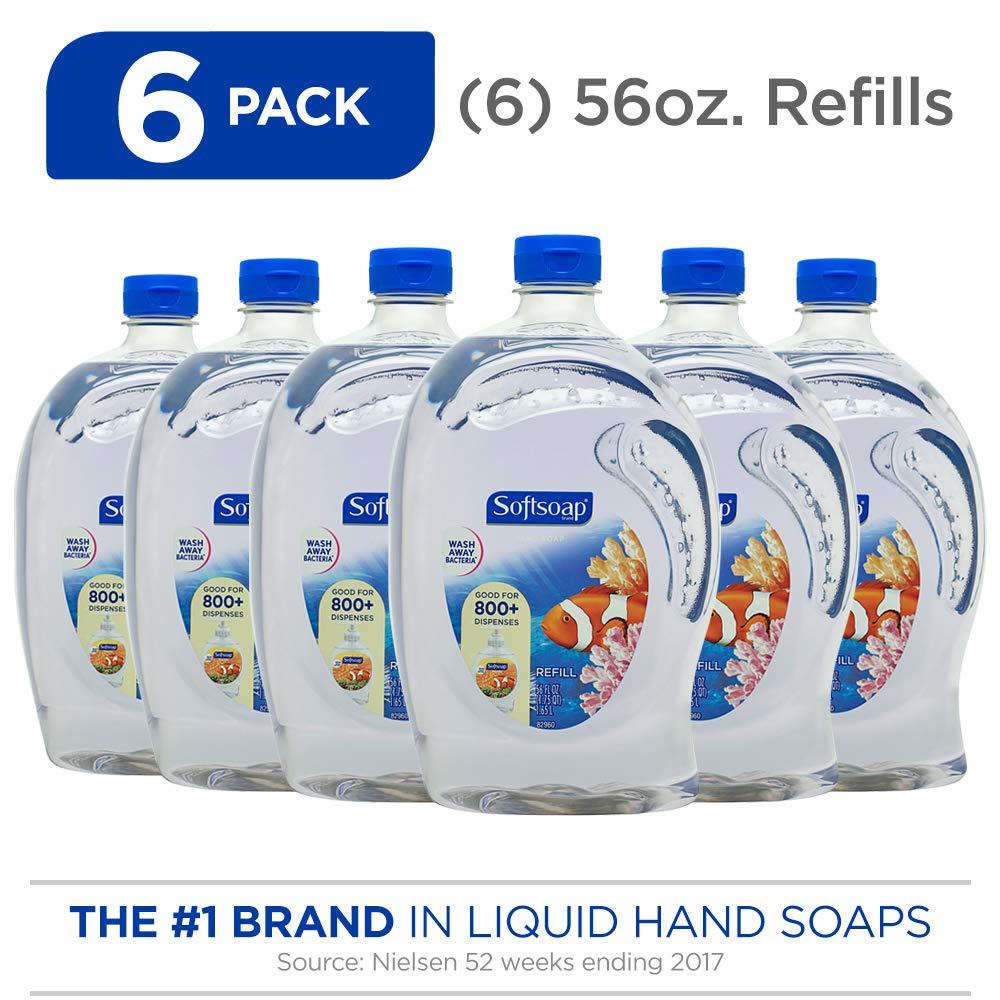 SOFTSOAP Liquid Hand Soap Refill, Aquarium, 56 Ounce Bottle (Pack of 6), Bathroom Soap, Bulk Soap, Premium Lightly Scented Hand Soap (Model Number: 126991)