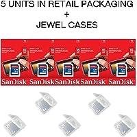Lot of 5 SanDisk 16GB SD SDHC Class 4 Flash Memory Camera Card SDSDB-016G-B35 Pack + ( 5 Jewel Cases ) …