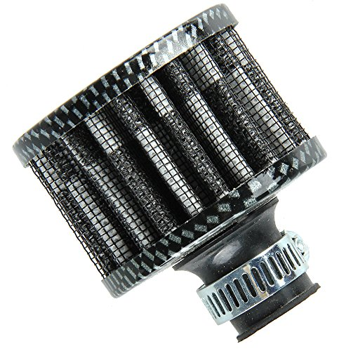 (Etopars 12mm Mini Carbon Fiber Universal Car Motor Cone Cold Clean Air Intake Filter Turbo Vent Vehicle)